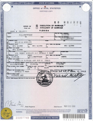 Scheidungsurkunde (USA) Certificate of Divorce / Dissolution of Marriage
