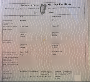 Eheurkunde (IRL) Marriage Certificate