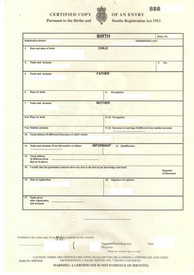 Auszug aus dem Geburtenregister (GBR) Certified Copy of an Entry of Birth