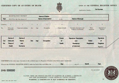 Auszug aus dem Sterberegister (GBR) Certified Copy of an Entry of Death