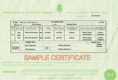 Auszug aus dem Eheregister (GBR) Certified Copy of an Entry of Marriage