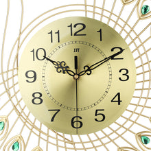 Load image into Gallery viewer,  3D Gold Diamond Peacock Wall Clock