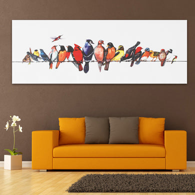 Colorful Birds Stretched Canvas Painting