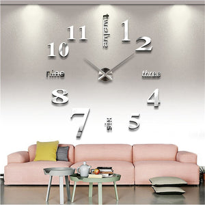 3D Mirror Surface Large Number Wall Clock Sticker