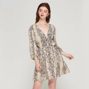 Women's V Neck Pattern Dress