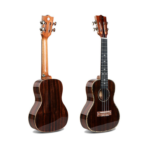 "24"" Slotted Headstock AA Ebony Wood Concert Ukulele LA10 - Zalaxy"