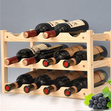 Wooden Rack 12 Bottles Storage Shelf