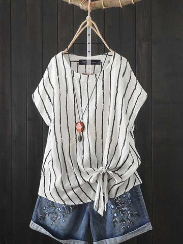 Women's Casual Striped Short Sleeve Blouse