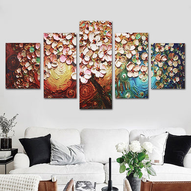 5pcs. Flower Tree Abstract Canvas Painting