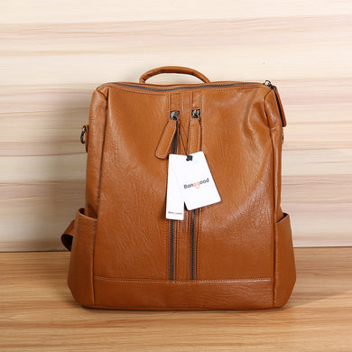 Leather Backpack Travel Camping School Bag
