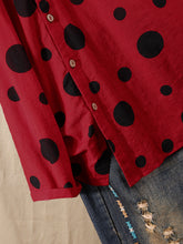 Load image into Gallery viewer, Polka Dot Print Button Plus Size Shirt