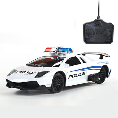 4CH Simulation Police Rc Car w/ Light Rechargeable Vehicle Toys