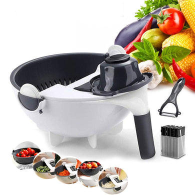 9 In 1 Multifunctional Vegetable Slicer with Drain Basket