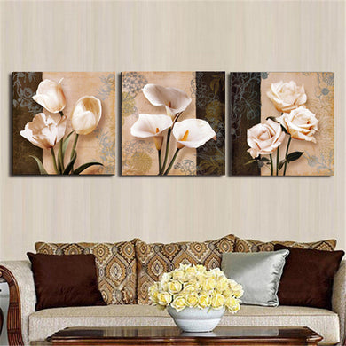 3pcs. Orchid Rose Flower Combination Painting On Canvas