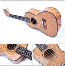 "Load image into Gallery viewer, 21"" Slotted Headstock AA Ash Wood Soprano Ukulele LA8 - Zalaxy"
