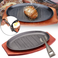 Sizzling Platter Plate BBQ Grill Pan Cooking Wooden Holder