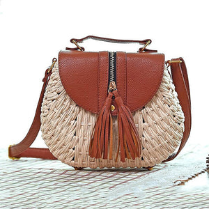 Straw Beach Tassel Patchwork Crossbody Bag