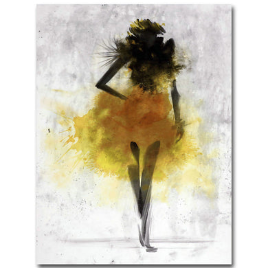 Fashion Yellow Girl Minimalist Abstract Art Canvas Oil