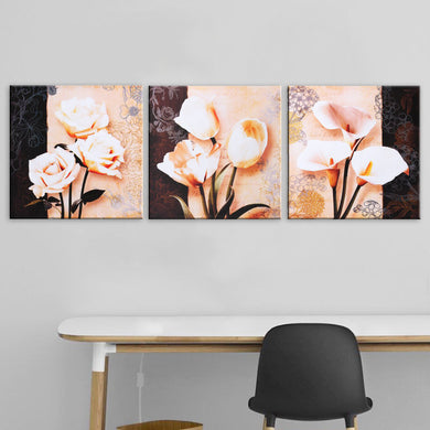 3 pcs. Flower Canvas Paint
