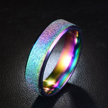 Load image into Gallery viewer, Frosted Rainbow Color Black Couple Ring