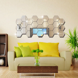 DIY Sexangle Mirror Wall Stickers