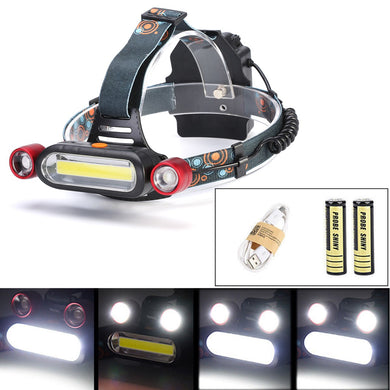 2 x  T6 LED COB Rechargeable 18650 Battery Headlamp
