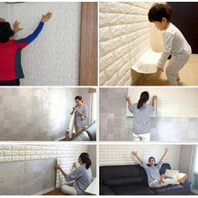 Load image into Gallery viewer, 4Pcs 3D Elasticity Brick Grain Wall Stickers