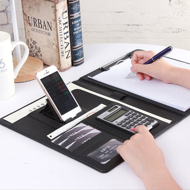 Fixed board + computer + mobile phone Holder bracket folder Multi-function a4 custom paper clip board stationery leather sales manager folder talk single business folder board