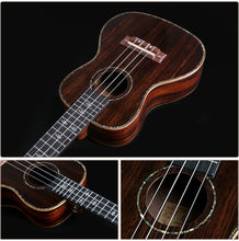 "Load image into Gallery viewer, 21"" Slotted Headstock AA Ebony Wood Soprano Ukulele LA10 - Zalaxy"