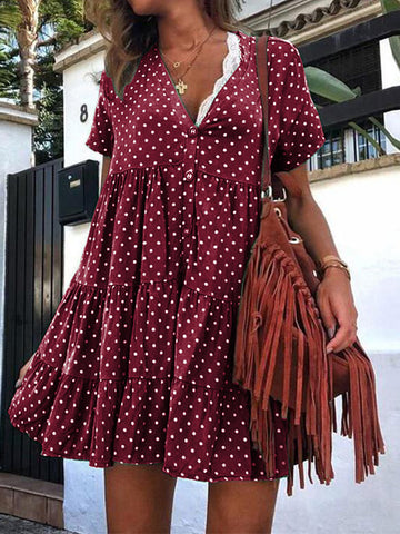 Short Sleeve Mini Polka Dot Dress