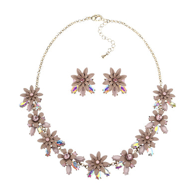 Elegant Flower Crystal Jewelry Set