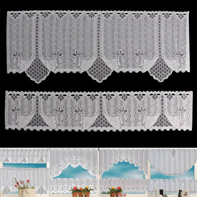 2PCS Lace Coffee Cafe Window Tier Curtains