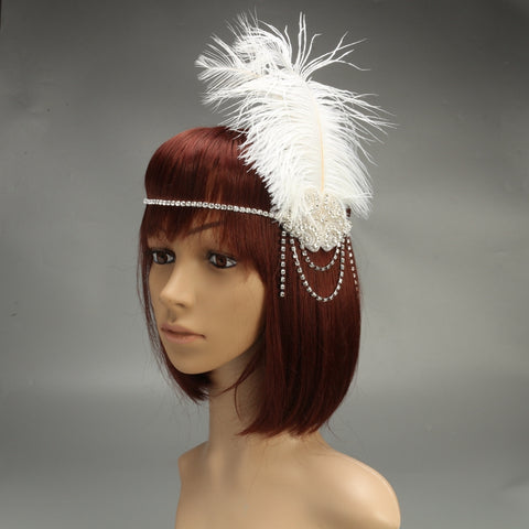 Rhinestone Feather Gatsby Hairband
