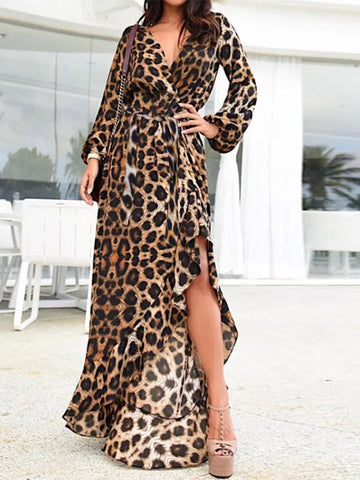 Women's Long Sleeve Casual Midi Print Dress