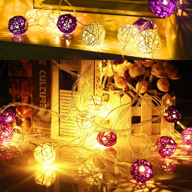 20 LED Rattan Ball String Light