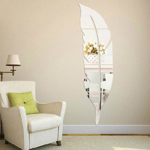 3D Mirror Vinyl Feather Wall Sticker Decal
