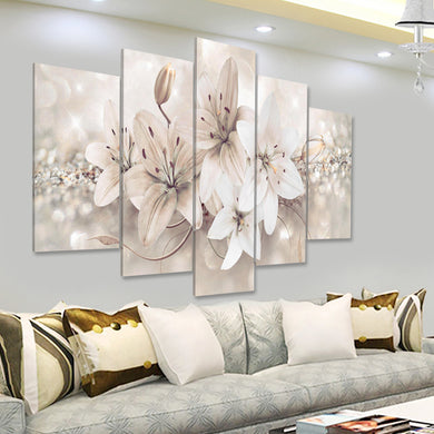 5 Panels Love Flowers Canvas Painting