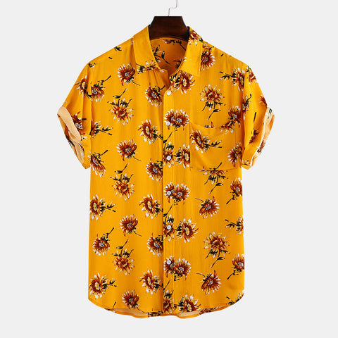 Mens Floral Chest Pocket Shirts