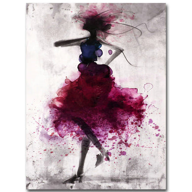 Fashion Red Girl Minimalist Abstract Art Canvas Oil Print Painting