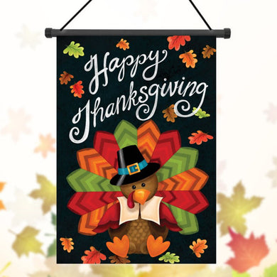 Thanksgiving Polyester Turkey Welcome Flag