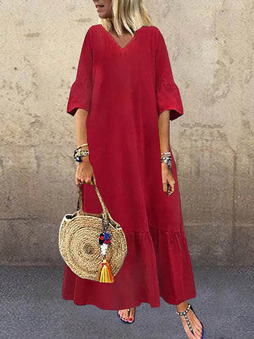 Long Sleeve V-neck Loose Causal Solid Maxi Dress