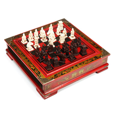 Vintage Wooden Chinese Chess Board Table Game Set