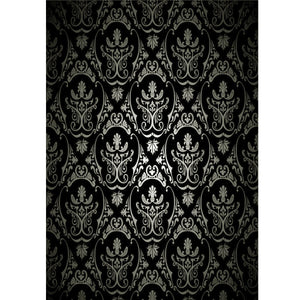 1.5x2.1m Photography Retro Damask Cloth Studio Props Background Vinyl Black