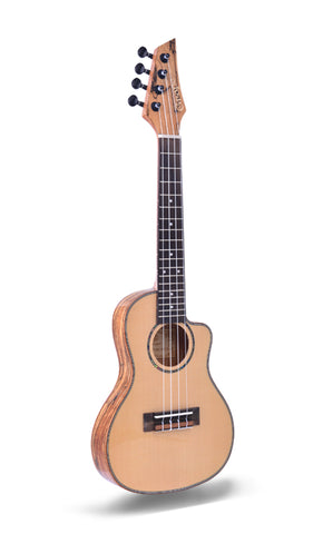 "24"" Thin Body AA Solid Top Spruce Wood Concert Ukulele ARS08 - Zalaxy"