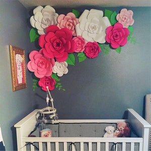 DIY Paper Flowers Leaves Backdrop
