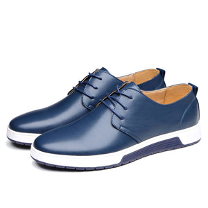Men Leather Round Toe Oxfords Sneaker