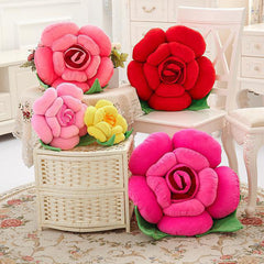 3D Colorful Rose Flowers Throw Pillow