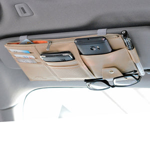 Multifunctional Leather Car Storage Bag Visor Cover