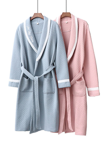 Long Sleeve Cotton Embroidery Robe