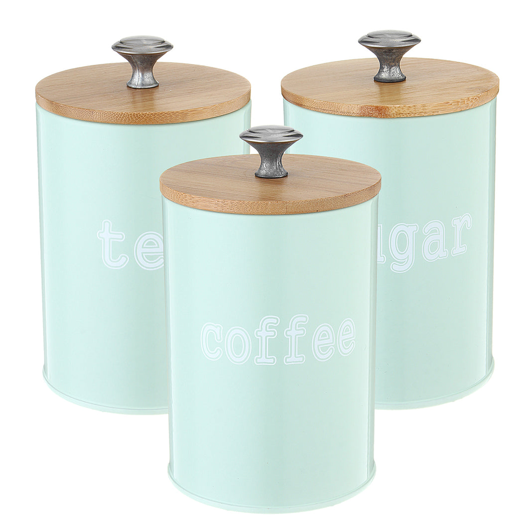 3Pcs Tea Sugar Coffee Canisters Storage Jars